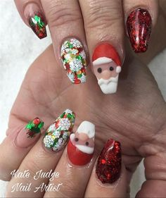 Christmas Nails Acrylic by Kate_Judge from Nail Art Gallery – bigart 3d Nail Art, 3d Acrylic Nails, Stiletto Nail Art, Stamping Nail Art, 3d Nails, Acrylic Art, Holiday Nail Art, Winter Nail Art, Winter Nails