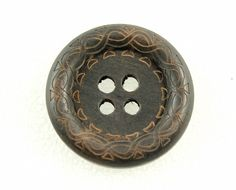 Wholesale Wood Buttons - Beautiful Swirls Decorative Domed Border Cascading Recessed Center Brown Wooden Buttons, 1.38 inch (50 in a set) by Lyanwood, $30.99
