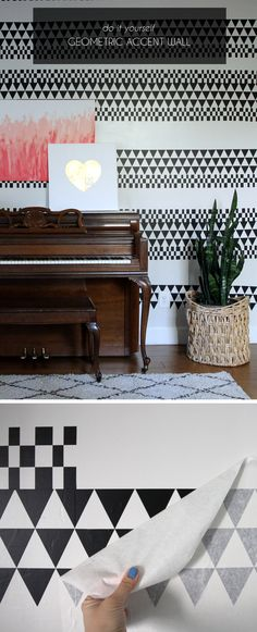 I love the pattern on this accent wall - made using adhesive vinyl!