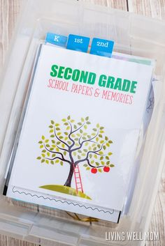 Need a better way to store your kids' school memories? Here's the inexpensive, simple way to organize & store school papers & memories with FREE printables! Back To School Organization, Paper Organization, Organizing Ideas, Easy Diy Projects, Projects To Try, Making Money On Youtube, School Schedule, Homemade Cleaning Products, School Memories