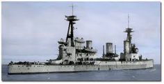 12 in HMS Indefatigable - lead ship of the Royal Navy's second class of battlecruisers. She was the first ship sunk at Jutland in May 1916, her magazines exploding shortly after the beginning of the action between the battlecruiser fleets under fire from SMS Von der Tann (picture elsewhere). Only 2 of her crew survived.