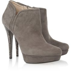 KORS Michael KorsChelsea suede and snake ankle boots (£153) ❤ liked on Polyvore featuring shoes, boots, ankle booties, heels, ankle boots, booties, grey, high heel boots, suede booties and platform ankle boots