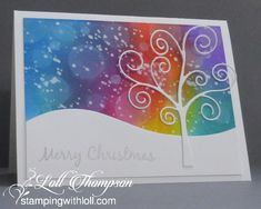 Stenciled Christmas Deck the Halls Snowy Winter Night Rainbow Snowy Sky Stenciled Christmas Tree I'. Xmas Cards, Holiday Cards, Chrismas Cards, Greeting Cards, Card Making Inspiration, Making Ideas, Zealand Tattoo, Rainbow Card, Rainbow Sky