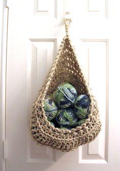 Hanging Crochet Basket Modern Wall or Door by CottageImaginations