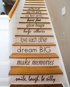 Family Wall Decal Quote Love Each Other Art Mural Stair Riser Vinyl Sticker Home Bedroom Stairs Decor Dorm Living Room Design Interior Black (Step Quotes Love) Painted Staircases, Painted Stairs, Spiral Staircases, Stair Art, Stair Decor, Deco Depot, Interior Design Living Room, Living Room Designs, Stair Stickers