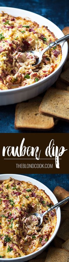 Reuben Dip - All of your favorite ingredients in a Reuben sandwich in a creamy and cheesy hot dip! Reuben Dip, Reuben Sandwich, Irish Recipes, Irish Meals, Dip Recipes, Finger Food Appetizers, Appetizer Dips, Finger Foods, Appetizer Recipes