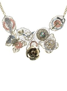 Necklace+with+silver,+gold+and+bronze+tone+gears,+wings,+key+and+rose+accents.