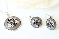 art deco clear crystal swarovski rhinestone tibetan silver plated necklace earrings wedding jewelry bridal jewelry bridesmaids jewelry set on Etsy, 27,90$