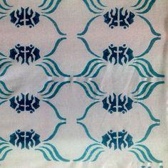 Blue and turquoise crab print by ecru. #ecru #print #blockprint #crab #design #kitchen #blue #turquoise #home