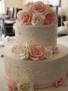 White and Pink Flower Beautiful Wedding Cake