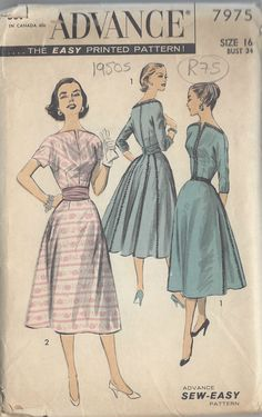 "1950s Vintage Sewing Pattern B34"" DRESS (R75)"