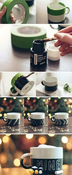 Have you seen those cute chalkboard mugs at Starbucks? Make your own DIY painted version using Dollar Store mugs, Porcelaine chalkboard paint and painter's tape. Diy Christmas Gifts, Holiday Crafts, Fun Crafts, Christmas Mugs, Christmas Baskets, Handmade Christmas, Holiday Ideas, Diy Tableau Noir, Diy Becher
