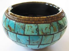 Native American Signed Randy Handmade Turquoise Inlayed Pottery Pot Must See!!