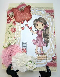 DT project, July 2015, for The Paper Nest Dolls using Heart Bubbles Avery, created by Leah Tees, odetopaper.blogspot.ca