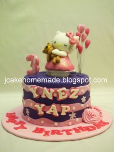 Hello Kitty birthday cake for Ynez Yap 3rd birthday party.