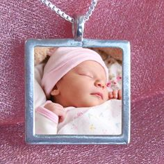 Birth Announcement Necklace - Custom Photo and Engraved Message Necklace for a New Mom.