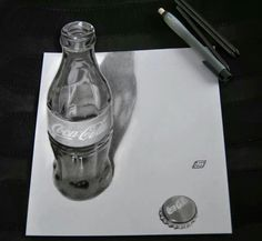 coca cola, by Joaquim Cruz 3d Pencil Art, 3d Pencil Drawings, 3d Art Drawing, Chalk Drawings, Realistic Drawings, Drawing Tips, 8th Grade Painting, 8th Grade Art, 3d Painting