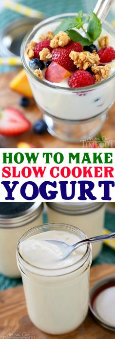 Have you ever tried making yogurt at home? It's really easy to do and you don't need a fancy yogurt machine either. All you need is a slow cooker!  Let me show you How To Make Yogurt In A Slow Cooker! | MomOnTiemeout.com | #recipe #dairy #ad