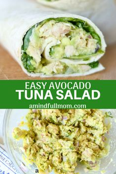 Easy Avocado Tuna Salad Tuna salad gets a face lift with this dairy-free tuna salad recipe Fresh avocado lime jalapeno and cilantro create the base for a fresh and wholesome tuna salad that is perfect for wraps sandwiches or to eat alone via amindfullmom Avacado And Tuna, Fresh Avocado, Avocado Tuna Sandwich, Tuna Salad No Mayo, Tuna Sandwich Recipes, Tuna Fish Salad, Healthy Tuna Salad, Avocado Wrap, Salad Sandwich