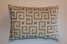 Exclusive 12x16 Greek Key White Brown Beige Lumbar Pillow