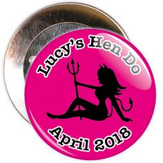 A pink customisable hen party devil badge. These badges are customised with the name of the hen and a date.