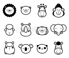 Cute Zoo Animals in black and white. : Icon Set: Cute Zoo Animals in black and white Royalty Free Stock Vector Art Illustration Easy Animals, Jungle Animals, Cute Animals, Felt Animals, Easy Animal Drawings, Easy Drawings, Drawing For Beginners, Drawing For Kids, Royal Icing Templates