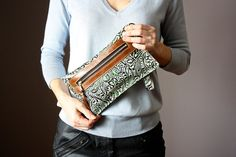 Iphone6 case Green Brown leather clutch by VitalTemptation on Etsy