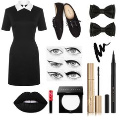 Wednesday Addams by claire394 on Polyvore featuring mode, WearAll, Wet Seal, Bobbi Brown Cosmetics, Lime Crime, Stila, Kevyn Aucoin, Eyeko, halloweencostume and DIYHalloween