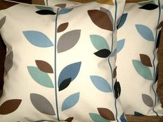 Pair Of New 18 inch Duck Egg Blue,Brown, Black, Grey,Cream Leaf Print Design Funky Contemporary Designer Retro Cushion Covers,Pillow Covers