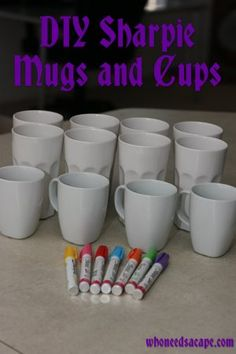 DIY sharpie mugs and cups. I FREEKEN LOVE SHARPIES. kenz & I are getting creative. Then I'll soak her to get all the texta off her....