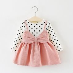 Bear Leader Baby Girls Dress Black and White Stitching Sleeve Small Bow Princess Dress Children Clothing Newborn Lovely Dresses - baby - Child Fashion Baby Girl Dresses, Baby Outfits, Kids Outfits, Cute Outfits, Infant Dresses, Pink Toddler Dress, Toddler Princess Dress, Kid Dresses, Dress Girl