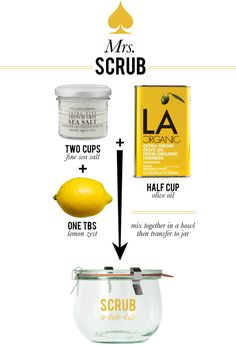 A citrus/salt scrub to make at home.  If you typically prefer sugar scrubs, I don't know why you couldn't substitute sugar for the salt. (Mrs. Lilien Styling House Blog - Mrs. Scrub) #crafts #DIY #beauty