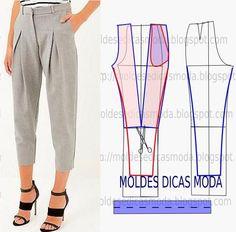 Faça a analise de forma detalhada do desenhe do molde de calças. Calça simples e bela, veste de forma descontraída e elegante.: