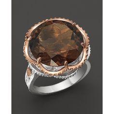 Tacori Smoky Quartz Ring Set In Sterling Silver And 18 kt. Smoky Quartz Ring, Smoky Topaz, Pink And Gold, Fingers, Rings For Men, Jewelry Making, Bling, Glitter, Jewellery