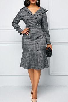 Rosewe Women Dress Grey Plaid V Neck Button Front Sheath Work Frill Hem Printed V Neck Button Front Dress African Dresses For Women, African Fashion Dresses, Fashion Outfits, Womens Fashion, Dress Fashion, Latest Fashion, Fashion Black, Fashion Fashion, Fashion Ideas