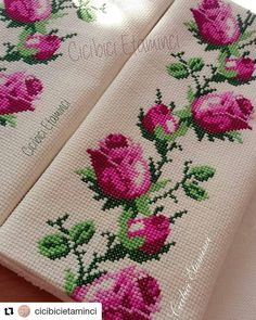 Beaded Cross Stitch, Cross Stitch Rose, Cross Stitch Flowers, Hand Embroidery Stitches, Cross Stitch Embroidery, Cross Stitch Patterns, Baby Dress Patterns, Brazilian Embroidery, Beading Patterns