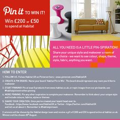 Follow the 5 easy steps to enter the #habitatpintowin competition.   2 winners, chosen by the Habitat design team, will receive a gift of £200 and £50 to spend online at www.habitat.co.uk. Winners will be chosen 20th August. Competitions Uk, Tactile Texture, Led Furniture, Blue Color Schemes, All You Need Is, My Favorite Color, Habitats, Dining Room, Explore