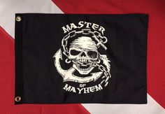 "Master of mayhem 12x18"" boat spearfishing scuba diving equip Flappin Flag Pirate #FlappinFlags"