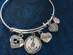Scouts #1 Troop Cookies Recycle Made in USA on Expandable Adjustable Wire Bangle Bracelet Leader Gift