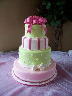 pink and green preppy cake