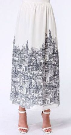 American in Paris Ivory City Print Maxi Skirt