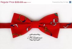 ON SALE Men's bow tie red printed LIMITED by KristineBridal