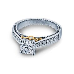 Verragio #Engagement Ring with Gold Accent