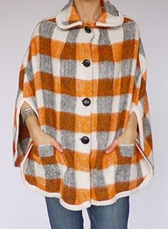 Vintage 1960s wool plaid poncho cape @ www.secondhandnew.nl