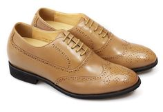 Chamaripa 2.95 inch Waxed Leather Dress Yellow brown  increasing height shoes for men