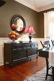 For half wall in living room. Instead of painting short wall dark- paint hall wall. Also, console table location as visioned prior to image.