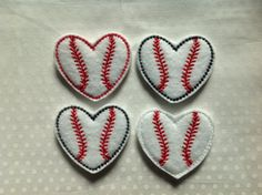 BASEBALL HEART Felt Embellishment /Appliqués - Set OF 4 - Machine Embroidered - Ready To Ship -  Choose One Color Or Mix And Match by CreationsByKG on Etsy