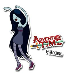 marceline has a dress gray with a ribbon on the waist, striped mesh purple  ,stilettos purple and with hair down.