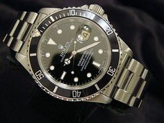 nice Rolex Submariner Date Stainless Metal Watch Black Dial Bezel Mens Sub 16610