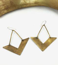 Antiqued Brass Chevron Earrings by AVILLA Jewelry on Scoutmob
